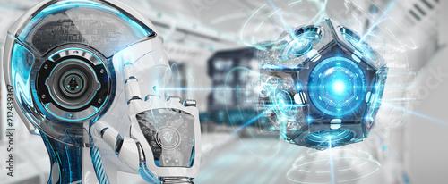 Białej kobiety humanoid używać trutnia kamery bezpieczeństwa 3D rendering