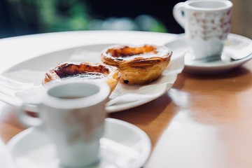 Traditional Portuguese pastry and coffee