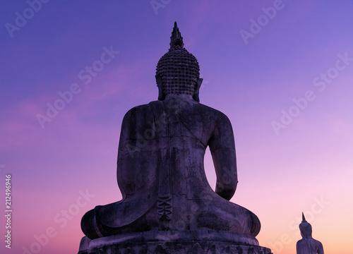 Aluminium Boeddha Big buddha stature with color of sky dark filter style