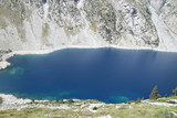 Blue lake in rocky mountains