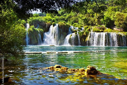 Waterfalls in Krka National Park in Croatia