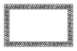 Rectangle frame with seamless meander pattern. Meandros, a decorative border, constructed from continuous lines, shaped into a repeated motif. Greek fret or Greek key. Illustration over white. Vector. - 212513194