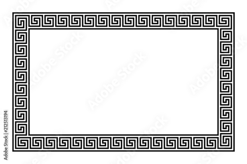 Rectangle frame with seamless meander pattern. Meandros, a decorative border, constructed from continuous lines, shaped into a repeated motif. Greek fret or Greek key. Illustration over white. Vector.