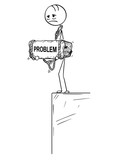 Cartoon stick drawing conceptual illustration of sad and depressed man or businessman standing on edge of precipice or chasm and holding big stone with problem text tied to his neck. - 212514160