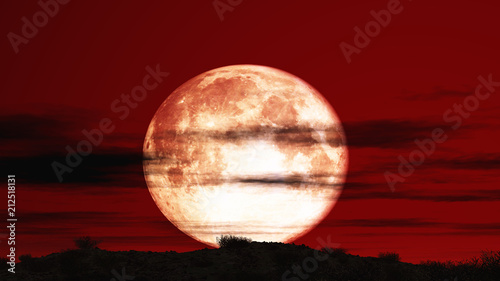 Canvas Rood paars red sky moon