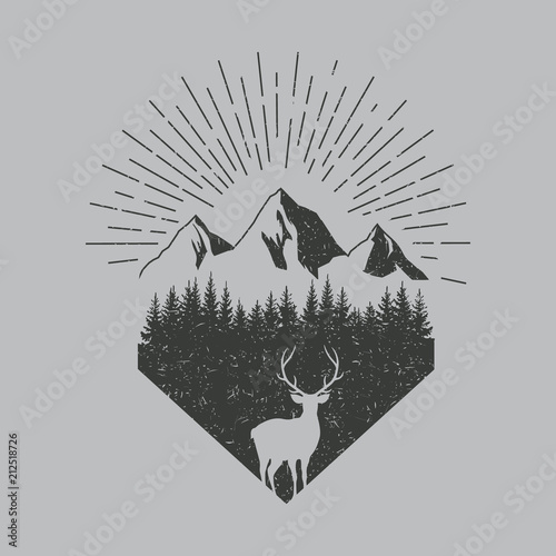 Fototapeta Deer in forest logo. Old texture. Vector. Isolated.