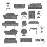 vector furniture drawing silhouette. home house interior design. collection set elements. interior icons.
