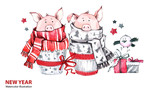 2019 Happy New Year illustration. Christmas border. Cute pigs in scarves with gifts and bird. Greeting watercolor cakes. Symbol of winter holidays. Zodiac sign. Perfect for celebration card. - 212523927