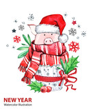 2019 Happy New Year illustration. Christmas. Cute pig in winter scarf with Santa hat. Greeting watercolor cake. Symbol of winter holidays. Zodiac sign. Perfect for calendar and card. - 212523952