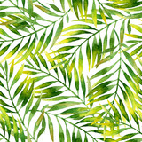 Simple watercolor palm leaves seamless pattern. - 212527109