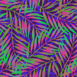 Hand painted tropical leaf in vivid rave colors on dark backgound. - 212527124