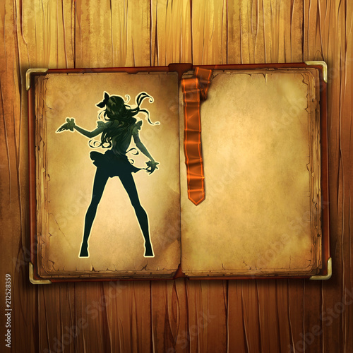 Cartoon anime illustration of a beautiful slim woman with long hair dancing  - 212528359