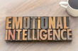 emotional intelligence - word abstract in vintage wood type