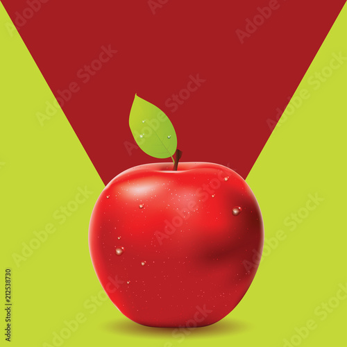 Two colored background with red apple - 212538730
