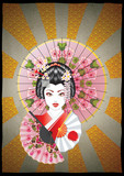 Grunge Poster with Geisha - 212538967
