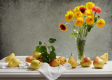 still life with bouquet of summer flowers in a jar and fresh pears - 212539359