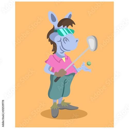 funny glasses golfer horse animal mascot cartoon character