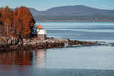 White lighthouse tower with red top, Norway - 212539922