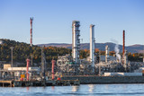Norwegian oil plant, coastal landscape - 212539928