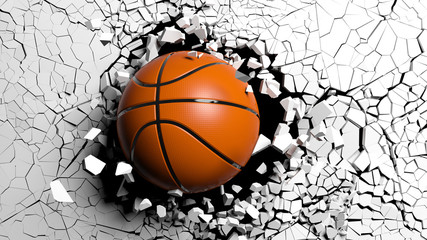 Basketball ball breaking forcibly through a white wall. 3d illustration. © viperagp