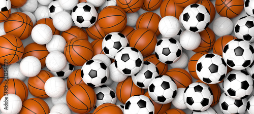 Fototapeta Sports concept. Basketball, volleyball and soccer balls, banner. 3d illustration.