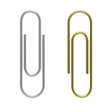 Paperclips silver and gold, isolated, cutout, on white background. 3d illustration. - 212542183