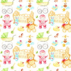 watercolor drawings for a children's room seamless pattern