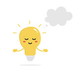Cute vector cartoon peaceful shining light bulb, lamp character relaxing, meditating with empty, blank thought cloud.  - 212548947