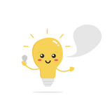 Cute vector cartoon shining light bulb, lamp character with empty speech bubble and bulb in hand. Concept of electricity knowledge and advices for kids and adults. - 212548958