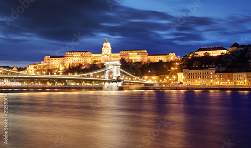 Poster Chain Bridge in Budapest in evening.