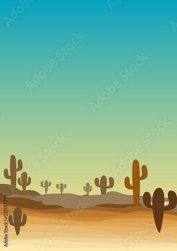 desert western scene with cactus
