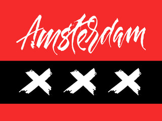 Amsterdam expressive calligraphy sign with crosses in red, black and white colors.