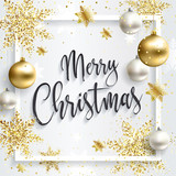 Square christmas card with gold sequins. Merry Christmas calligraphic inscription. White clean background. Golden xmas balls. - 212554519