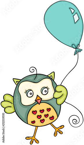 Fotobehang Uilen cartoon Cute owl with balloon