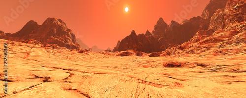 Aluminium Oranje eclat 3D Rendering Planet Mars Lanscape