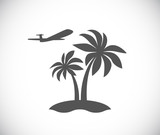 palm tree island with plane icon - 212563996