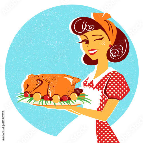 Housewife portrait with roasted chicken on plate - 212567578