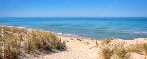 Panorama of the dune and the beach of Lacanau, atlantic ocean, France - 212573329