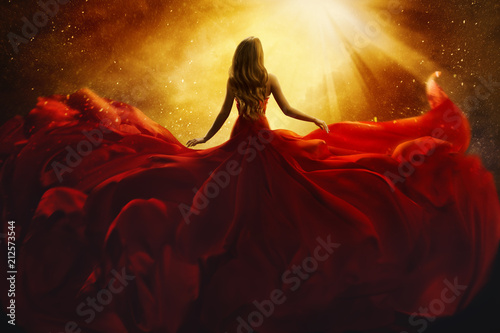 Plexiglas Hoogte schaal Fashion Model Back Side in Red Flying Dress, Woman Rear View, Gown Fabric Fly on Wind, Beautiful Girl Looking to Light