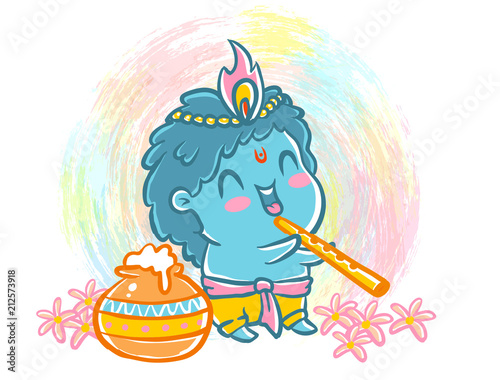 Little Krishna in kawaii style. - 212573918