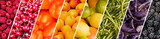 Fresh fruits and vegetables rainbow panoramic collage, healthy eating concept - 212574185