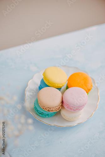 Fotobehang Macarons Delicious french dessert. Colorful pastel cake macaron or macaroon