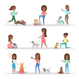 Set of women with the dogs
