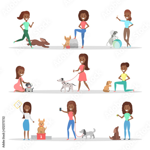 Set of women with the dogs - 212575732