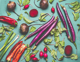 Healthy vegetarian and vegan cooking and eating with seasonal organic harvest vegetables. Clean food concept. Various vegetables on blue green background with ingredients, top view, flat lay - 212576152