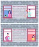 Neighbourhood Poster Copy Space Text Brick Wall - 212576391