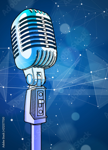 Fotobehang Muziek A microphone on a blue technological background is surrounded by a sound wave. Atmosphere of sound recording studio, chamber concert, night disco club or karaoke club / vector