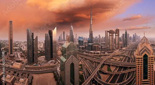 Wall mural Dubai skyline during sunrise, United Arab Emirates.