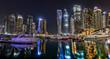 Dubai skyscrapers panorama during night hours