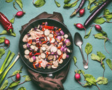 Vegetables chicken low carb dish with eggplants, preparation on kitchen table background with ingredients, top view, flat lay. Healthy dieting food and eating concept - 212577764